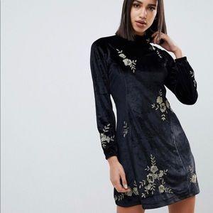 Velvet floral embroidered dress
